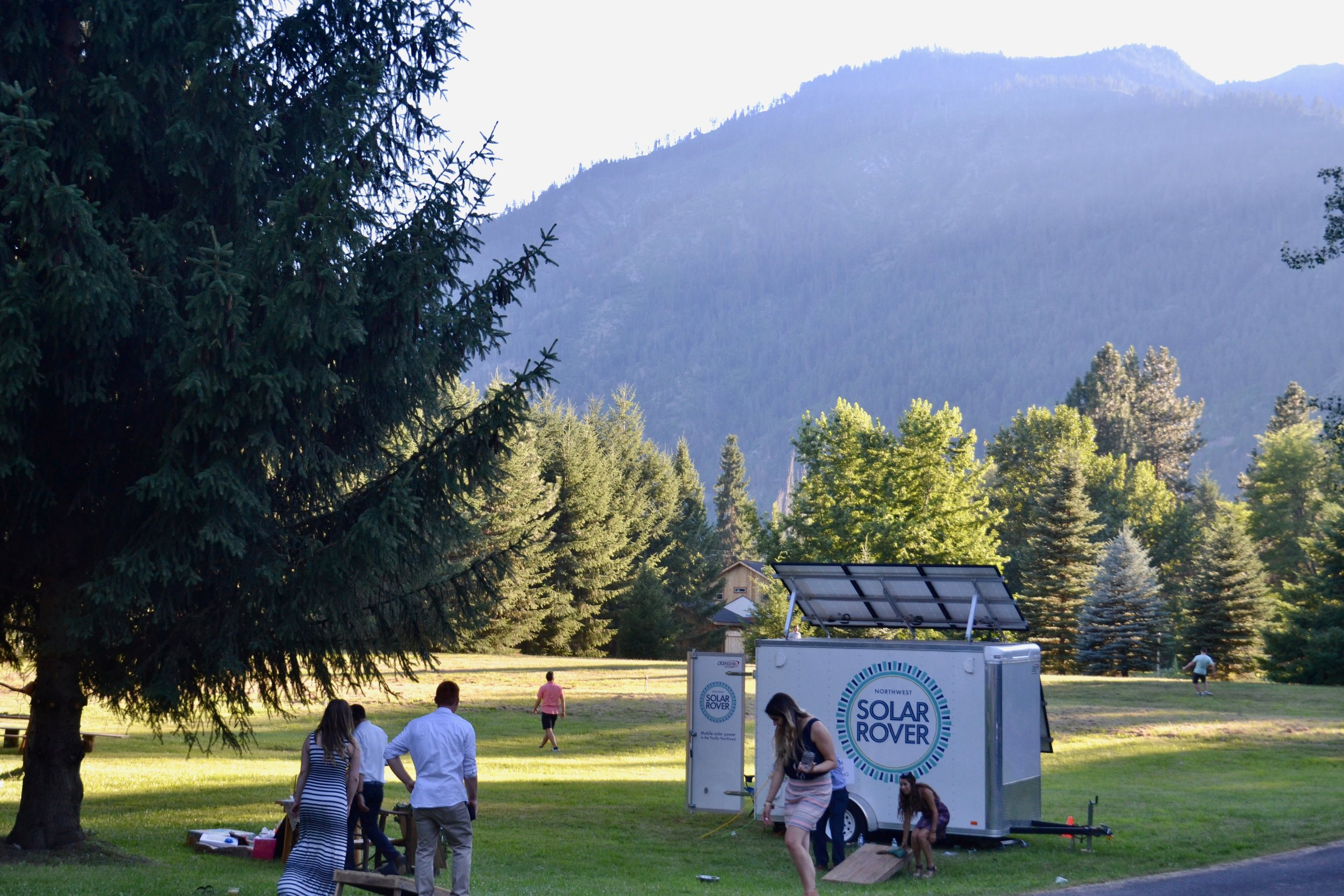 Supplying solar for the string lights and DJ at a wedding in Leavenworth, WA.
