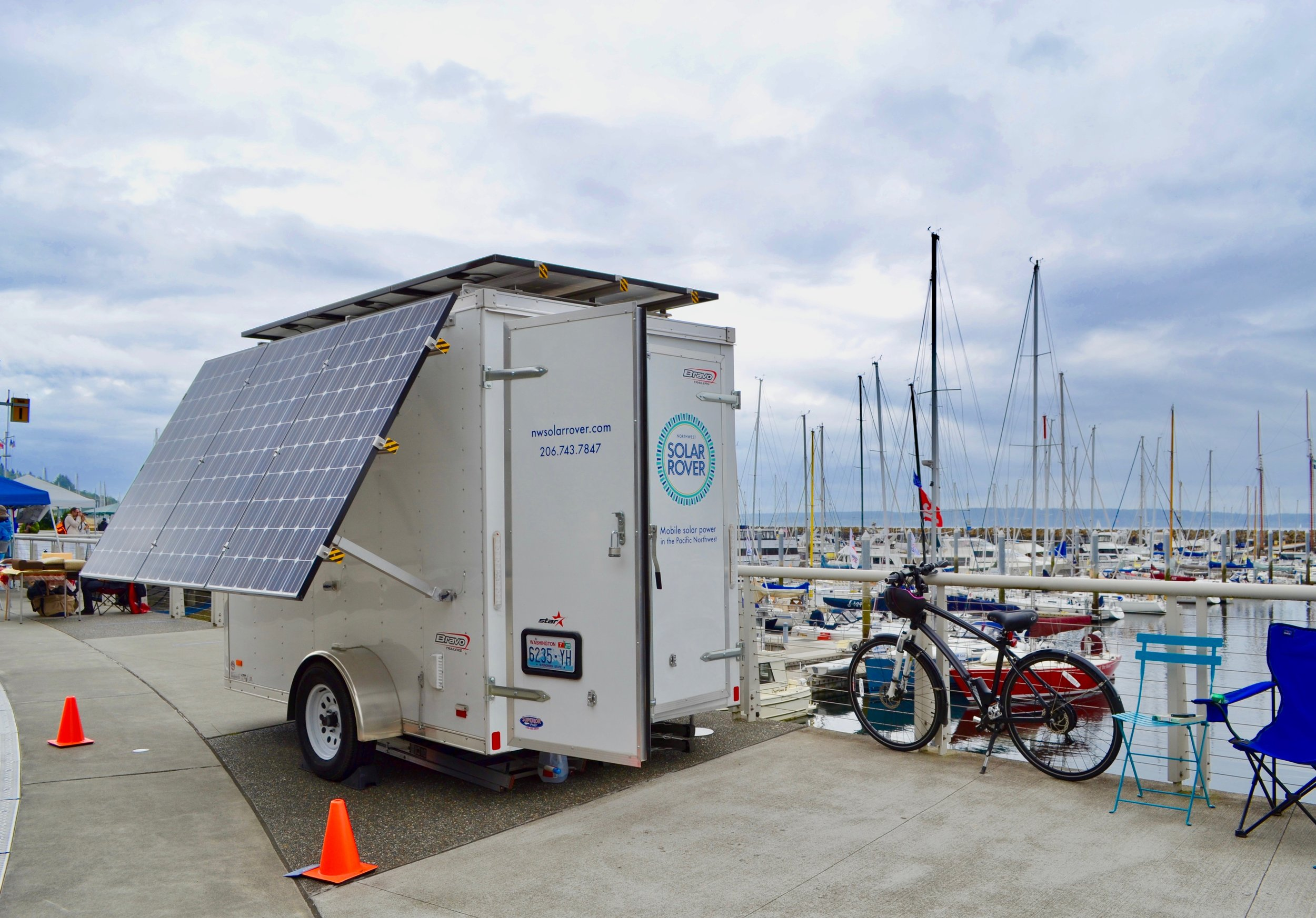 Sending solar power down the way to a band at a Shilshole Bay Marina party.