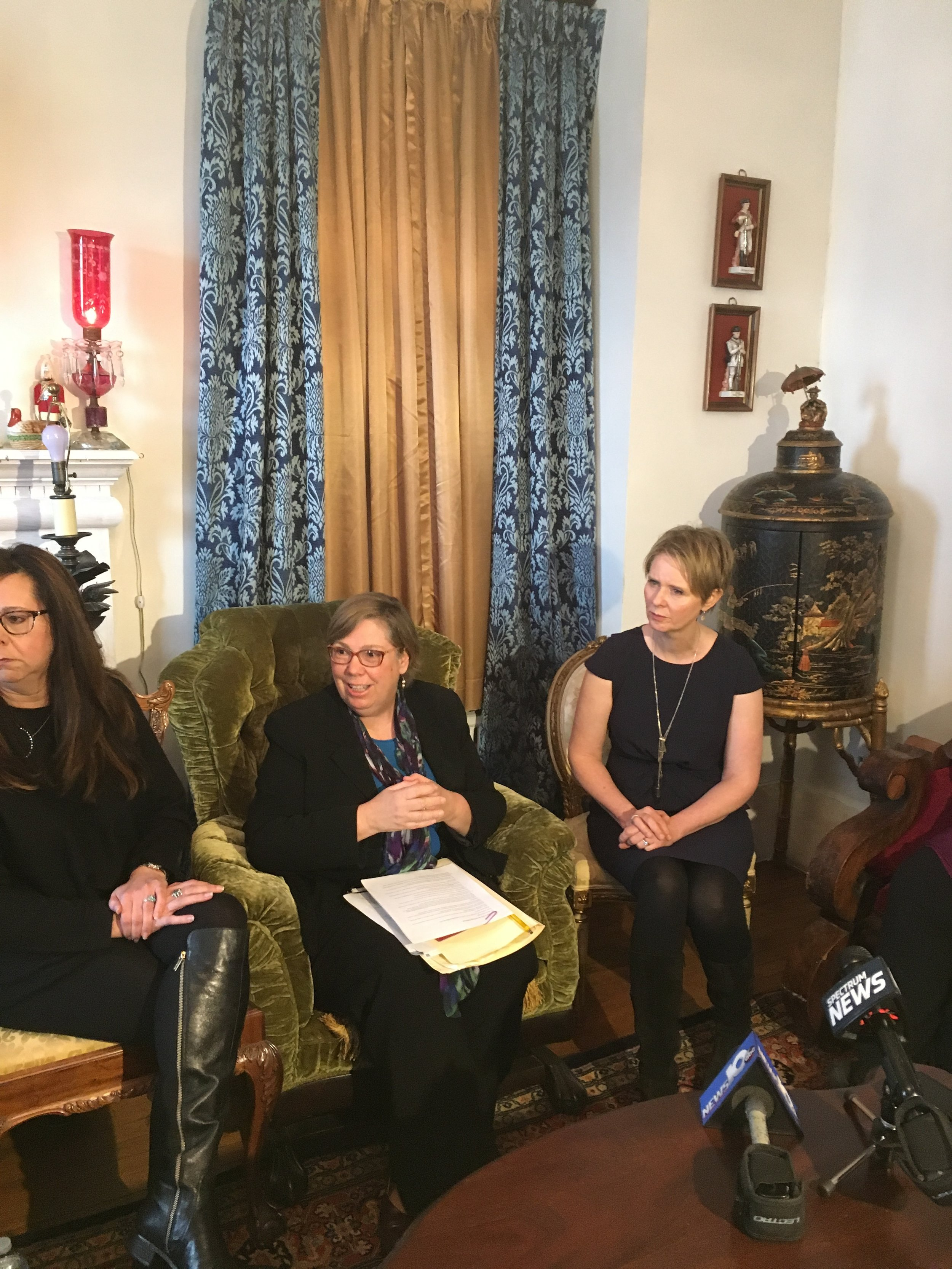 From left to right: Hoosick activist Michele Baker, former EPA Regional Administrator Judith Enck, and candidate Cynthia Nixon.