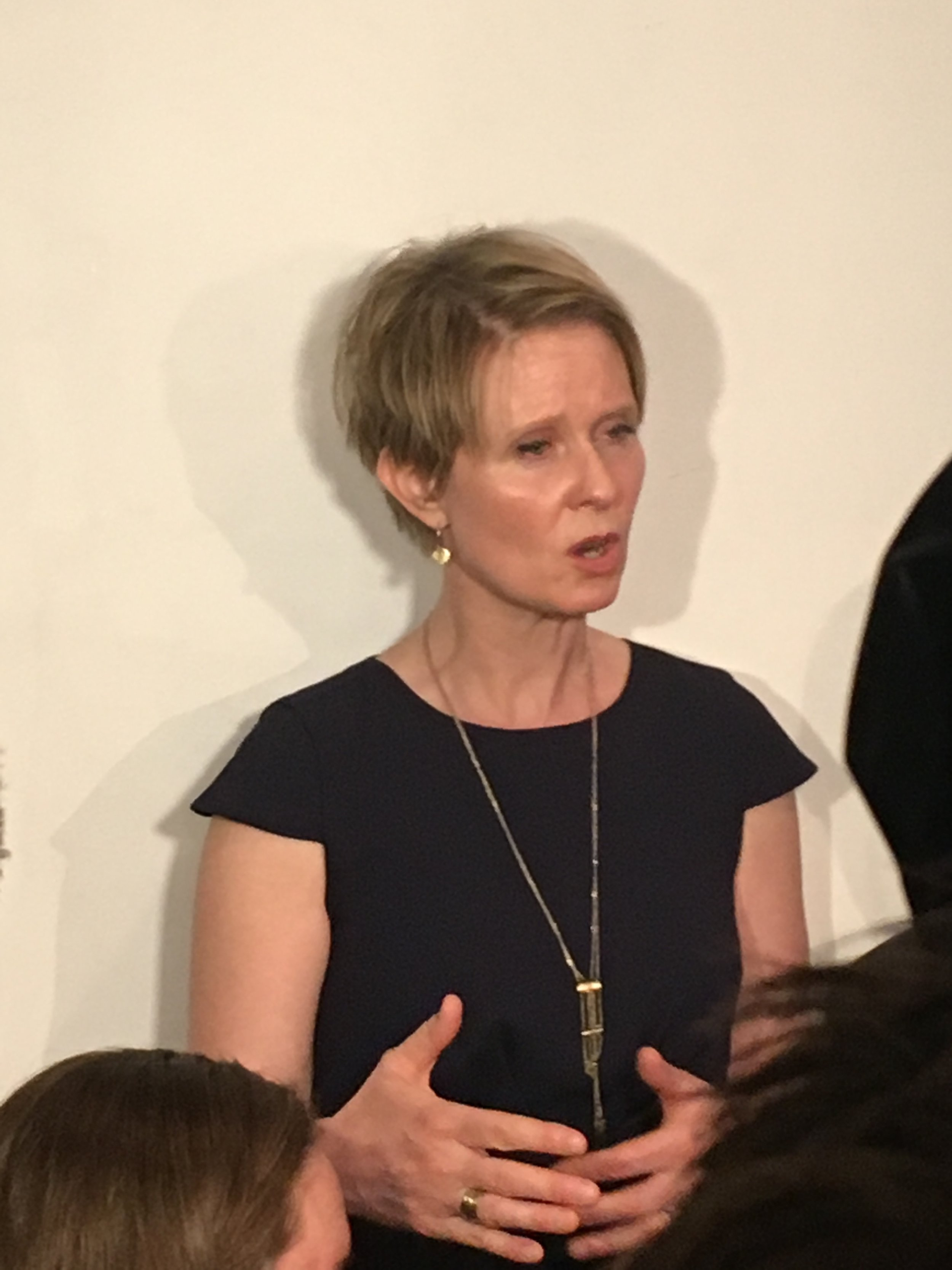 Cynthia Nixon speaks at today's press conference. Photo by Jorja Rose.
