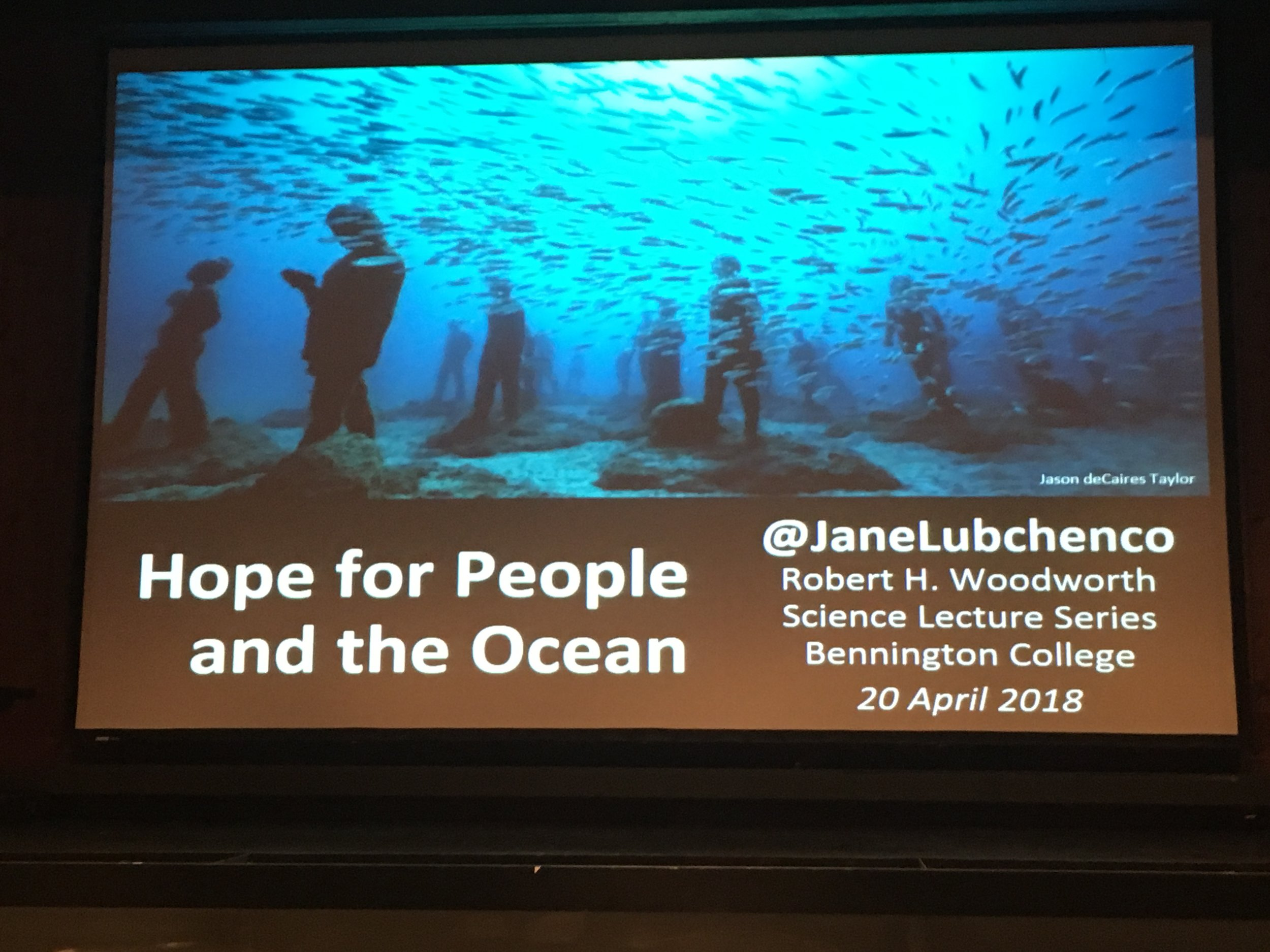 Photo of Dr. Jane Lubchenco's Opening Slide.