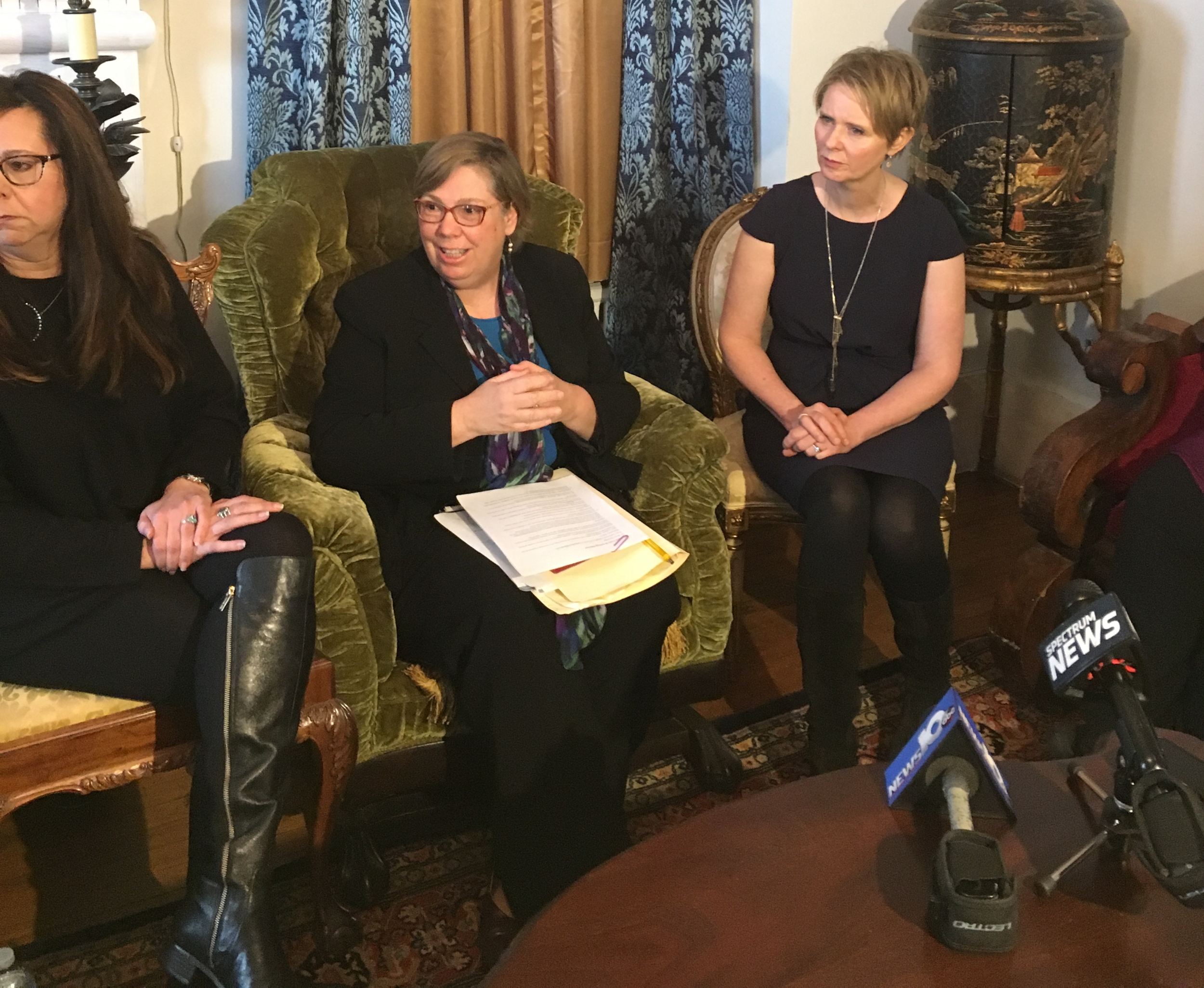 (From left to right) Activist Michele Baker, former EPA Regional Administrator Judith Enck, and New York gubernatorial candidate Cynthia Nixon at a recent press conference in North Hoosick.
