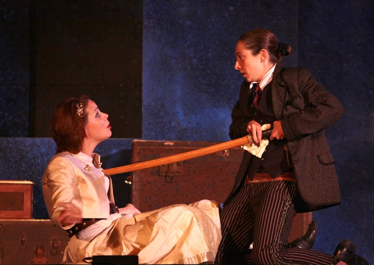 As Pisanio in The San Francisco Shakespeare Festival's Cymbeline.  Appearing with Emily Jordan as Innogen.