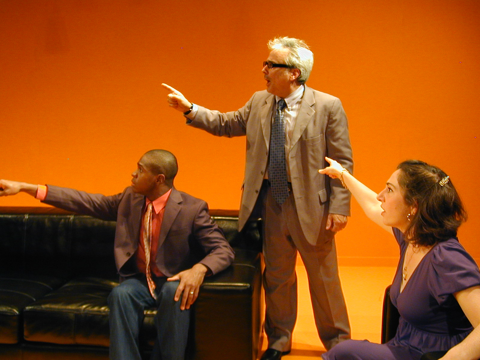 Donnell Hill as Mr. Martin, David Sinaiko as Mr. Smith, and Caitlyn as Mrs. Martin in Cutting Ball Theatre's acclaimed  The Bald Soprano.