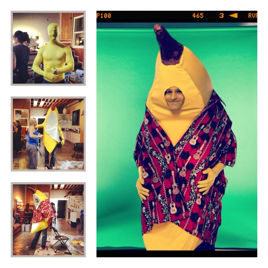 Tom Christensen is transformed into Mr Banana by our costume designer  Ambre Wrigley