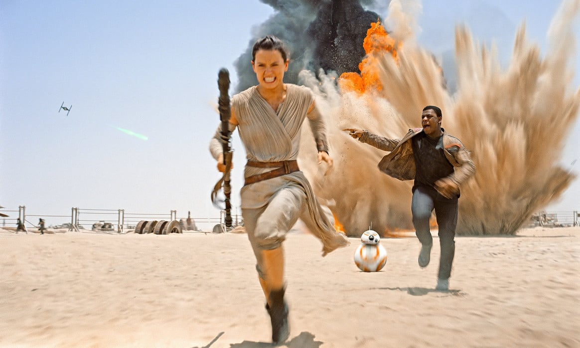 Rey, BB-8 and Finn in Star Wars: The Force Awakens
