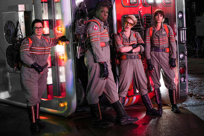 "From left, Melissa McCarthy, Leslie Jones, Kate McKinnon and Kristen Wiig in ""Ghostbusters."" Credit: Columbia Pictures"