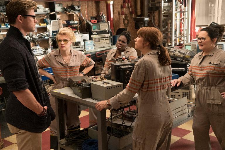 "From left, Chris Hemsworth, Kate McKinnon, Leslie Jones, Kristen Wiig and Melissa McCarthy in ""Ghostbusters."" Credit: Columbia Pictures"