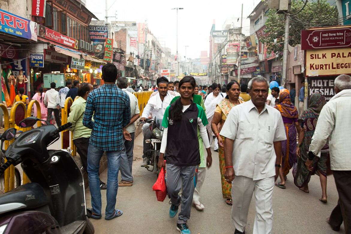 Rani walking through her hometown Varanasi