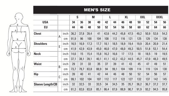 MEN'S CHART-PLEASE FOLLOW THE CHART WHEN SELECTING SIZES