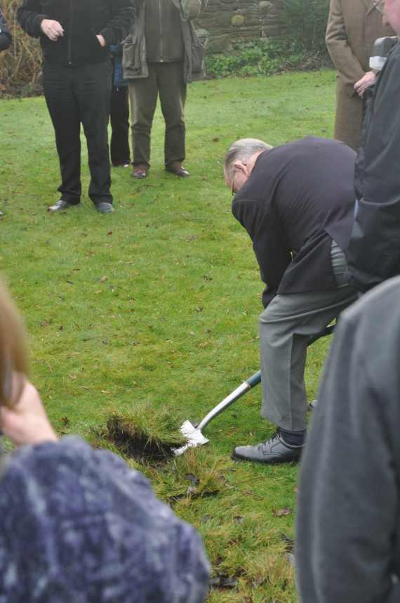 Sam Sowerbutts, cutting the first sod.