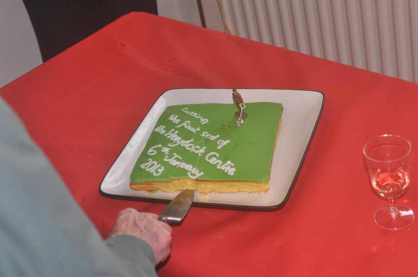 Cutting the cake to celebrate the start of the building of the Haydock Centre, 6th January 2013.