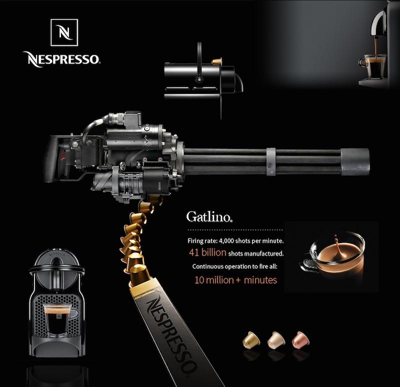 Nespresso firing machine gun