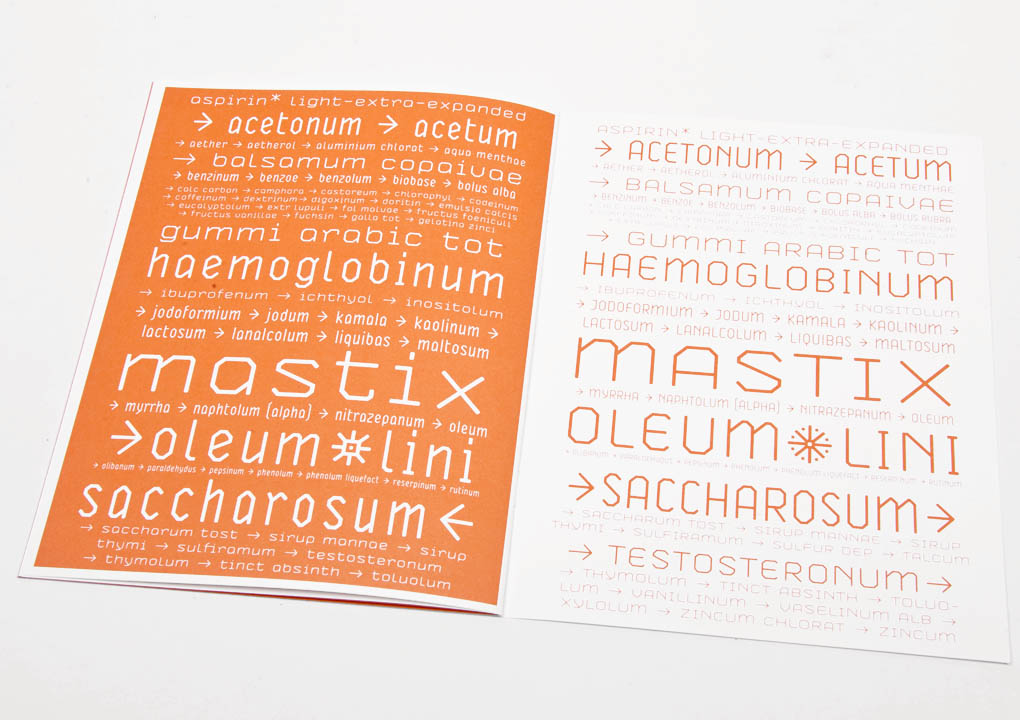 ASPIRIN FONT BOOKLET — Walking Chair Design Studio GmbH