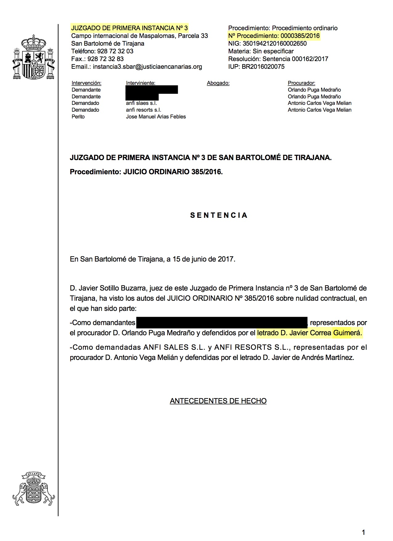 17-06-22 Lindseth. Sentencia de Primera Instancia. SBT3. Declara Nulidad y Concede Anticipos sin costas. Estimatoria parcial 1 - Publicada 18-04-2018..jpg