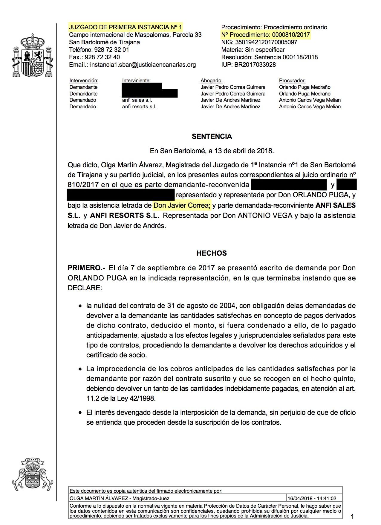 18-04-18 DOOLER. Sentencia de Primera Instancia. SBT 1. Estimatoria parcial sin costas 1 - Publicada 20-04-18.jpg
