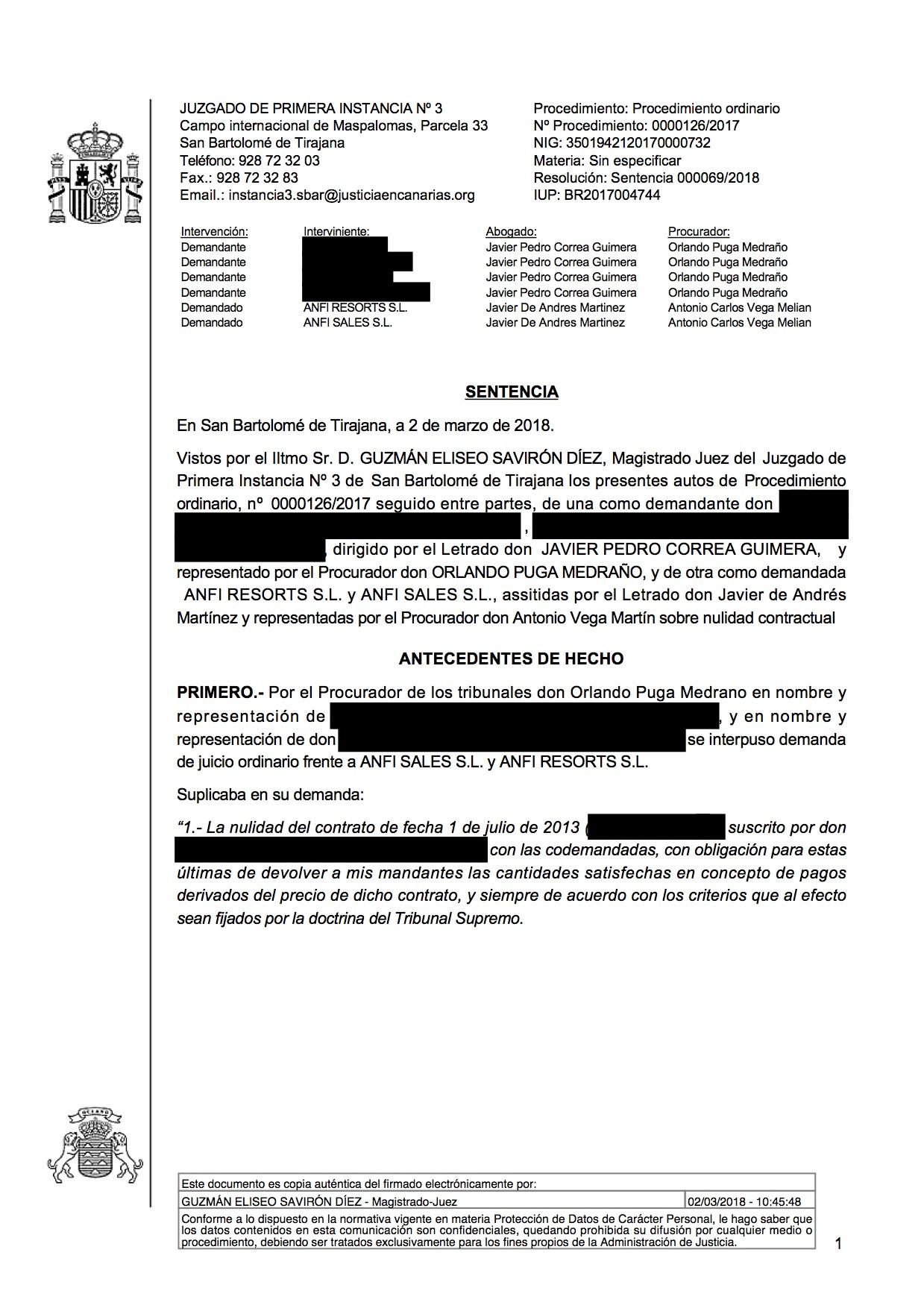 18-03-05 STEPHEN & THOMAS. Sentencia Primera Instancia. SBT3. Estimatoria integra con efectos y costas. Rechaza reconvención. Página 1.jpg