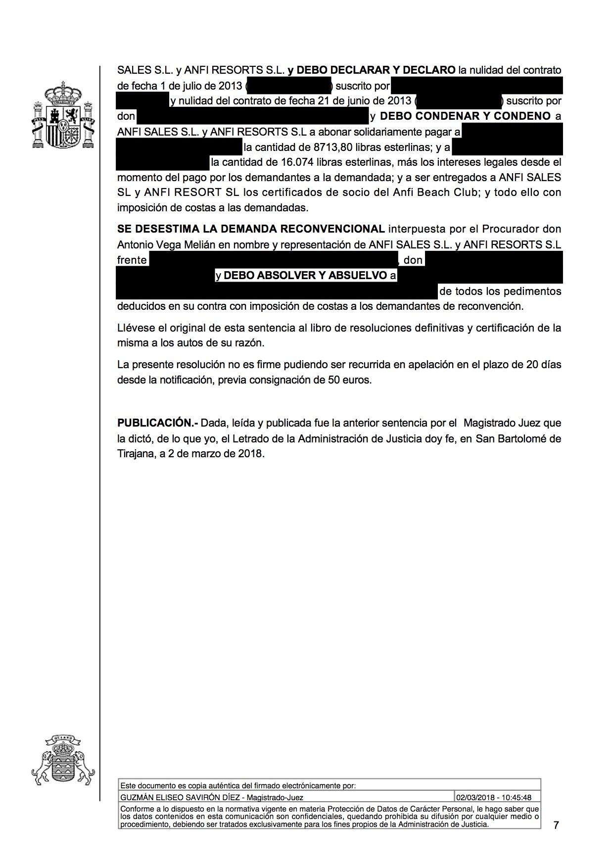 18-03-05 STEPHEN & THOMAS. Sentencia Primera Instancia. SBT3. Estimatoria integra con efectos y costas. Rechaza reconvención. Página 3.jpg