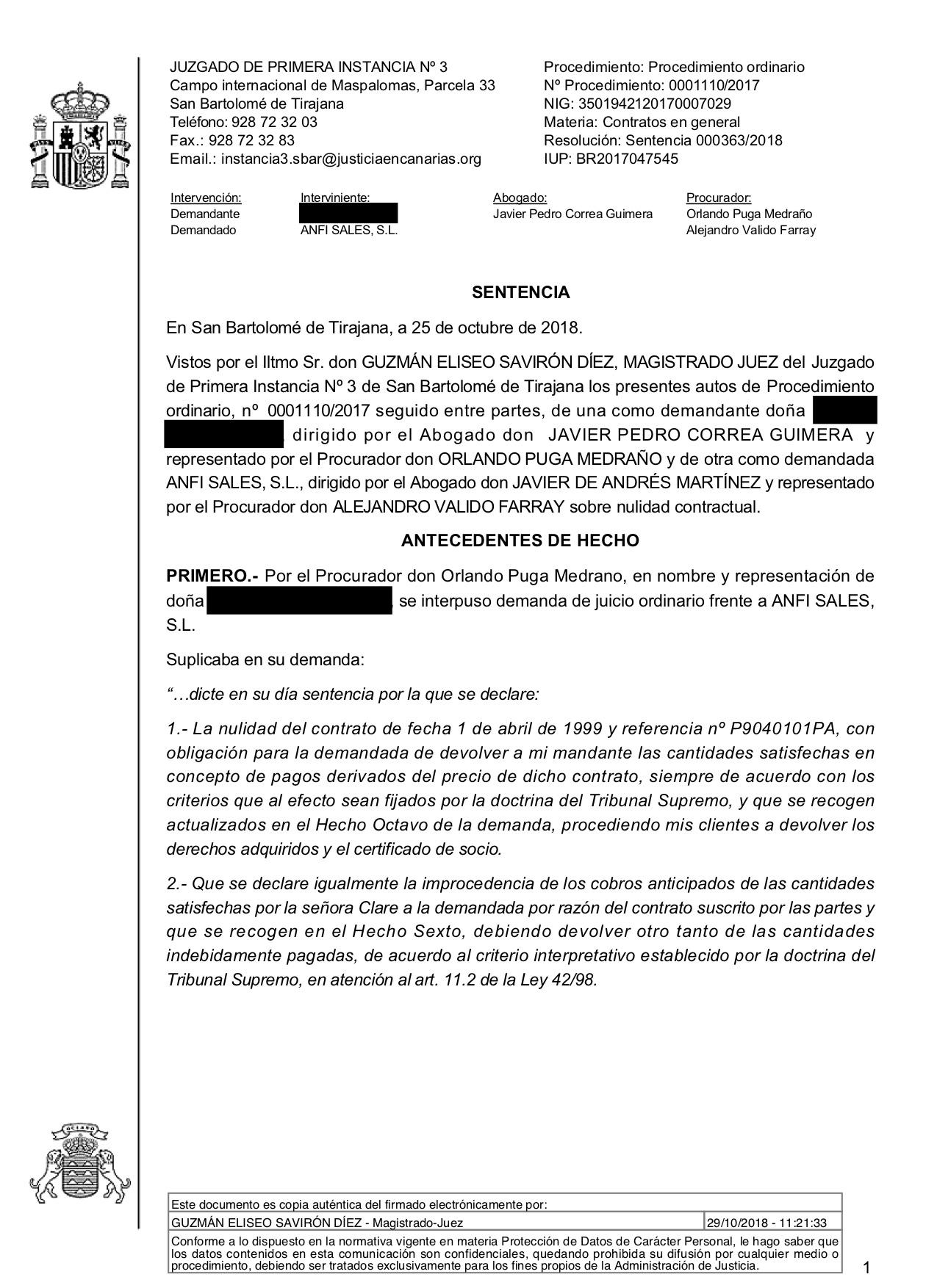 18-10-30 CLARE. Sentencia Primera Instancia. SBT3. Anfi. Estimatoria total con anticipos y costas. 1 página.jpg