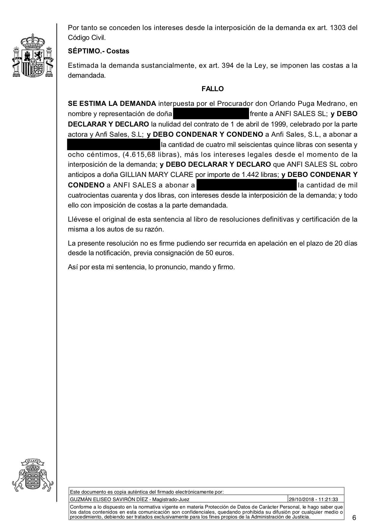 18-10-30 CLARE. Sentencia Primera Instancia. SBT3. Anfi. Estimatoria total con anticipos y costas. 2 página..jpg