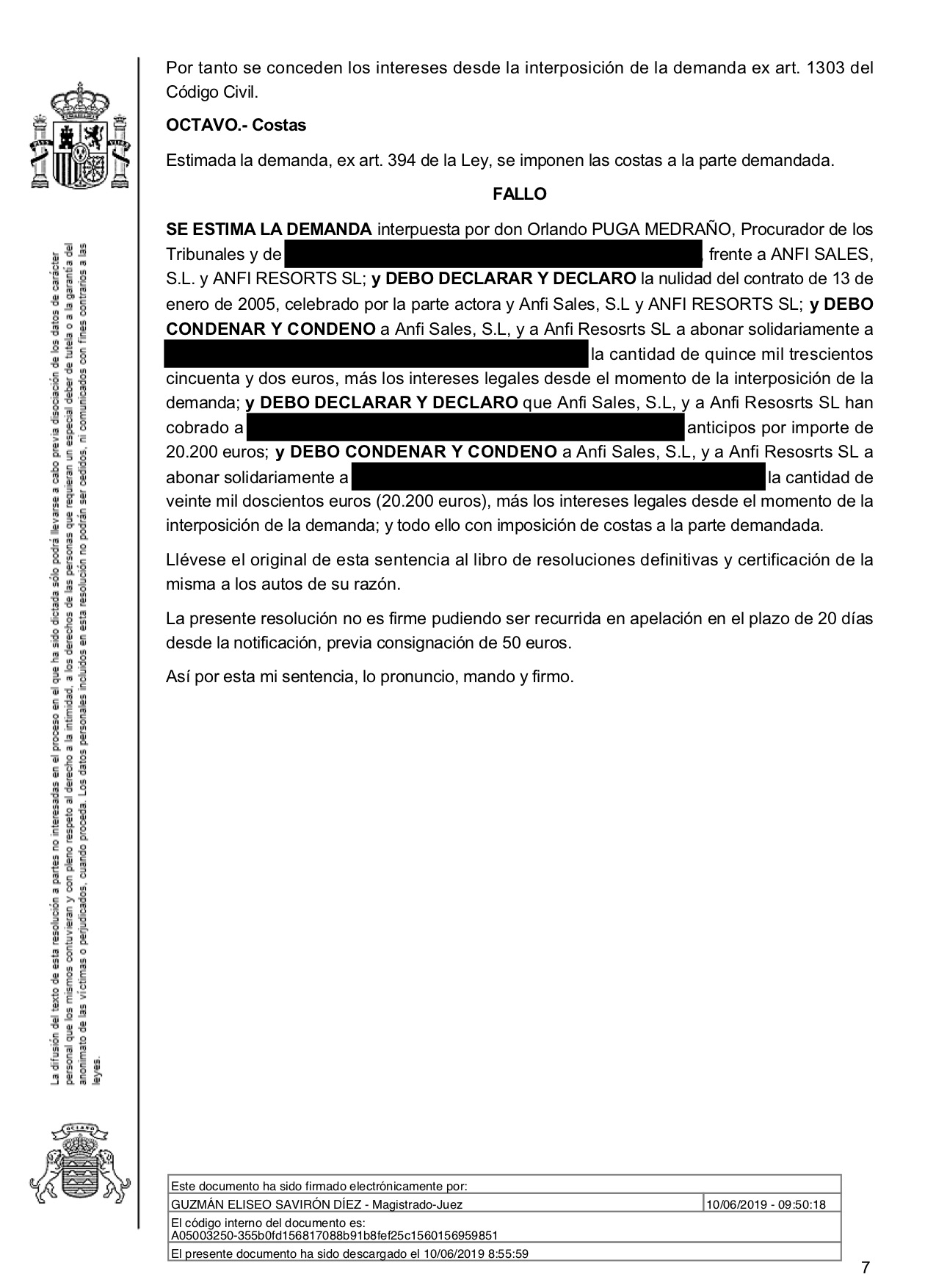 19-06-12 KNUTSEN-OLSEN. Sentencia Primera Instancia. SBT3. Anfi. Estimatoria total con costas. 2 página.jpg