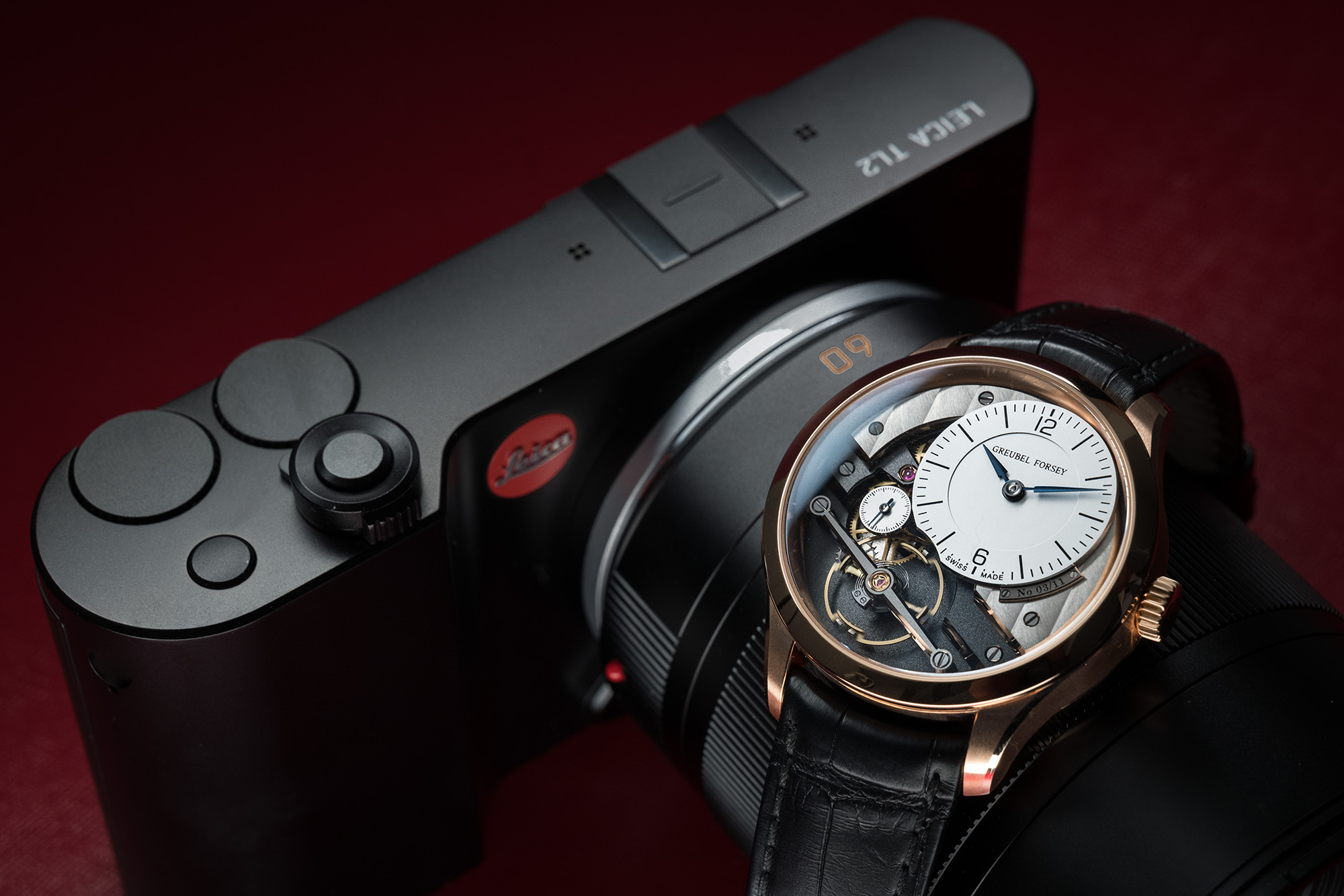 Leica TL2 in black with the Greubel Forsey Signature 1 timepiece. Shot on the Leica SL with 24-90mm SL zoom lens.