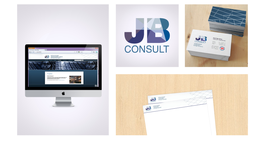JB CONSULTis a Norwegian based consulting engineer company that mainly works with enterprise entrepreneurs. Their image is conceived as serious, reliable and efficient The geometric design is based on lines from construction drawings giving the brand a clean aesthetic while demonstrating what field they work in.