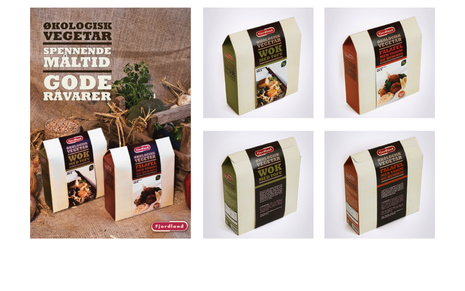 FJORDLAND ØKOLOGISK VEGETAR is ready-made dinners from Fjordlands new organic vegetarian range. The packaging mimics a brown paper bag similar to what you might get at your local vegetable market, giving it a slightly rustic feel.  Each meal in the range has its own signature colour in an earth tone to signify the organic aspect. The chosen rough paper stock also gives the packaging an organic feel.