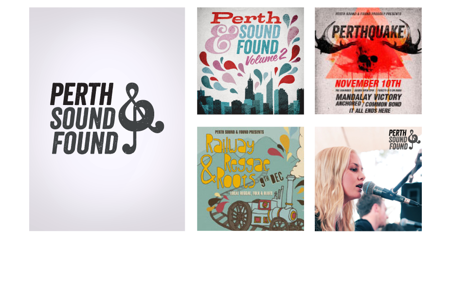PERTH SOUND & FOUND aims to aid and support local musicians, venues, photographers, booking agents and touring acts. The goal is to bridge the gap between the local community and musicians whilst introducing new acts to the public. The mark is a combination of the ampersand and the treble clef; symbolising the bringing together of local music.