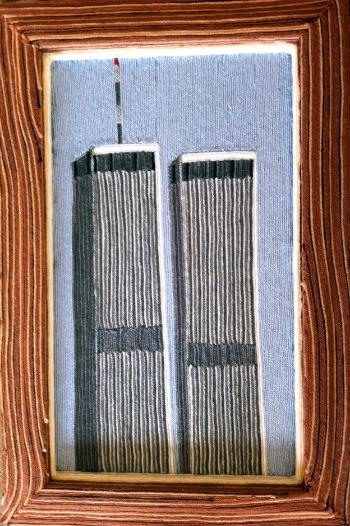 World Trade Center, 2000, yarn & wood, 24 x 30 inches