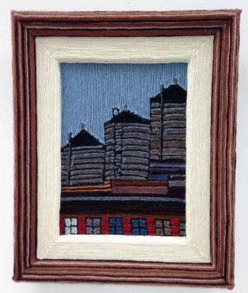Water Tower Series III, 2001, yarn & wood, 20 x 22 inches