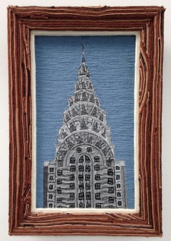Chrysler Building, 2000, yarn & wood, 24 x 30 inches