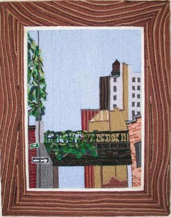 Highline, 2001, yarn & wood, 20 x 22 inches