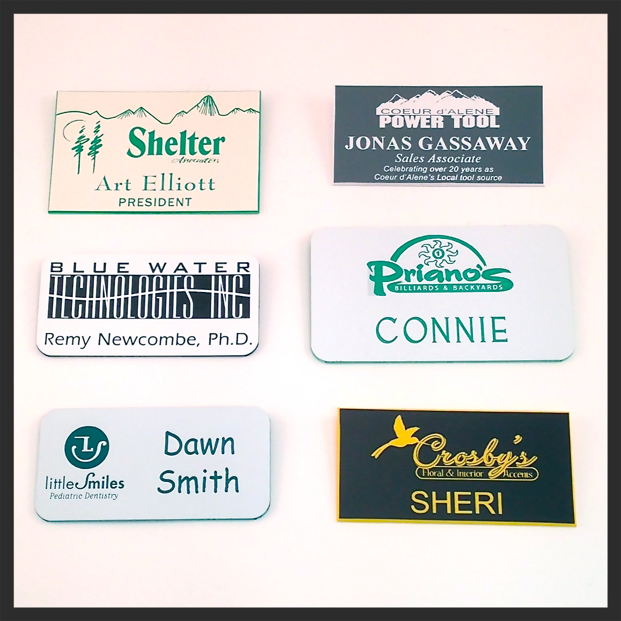 2 Color Plastic Name Badges. Starting at $6.00 Ea.