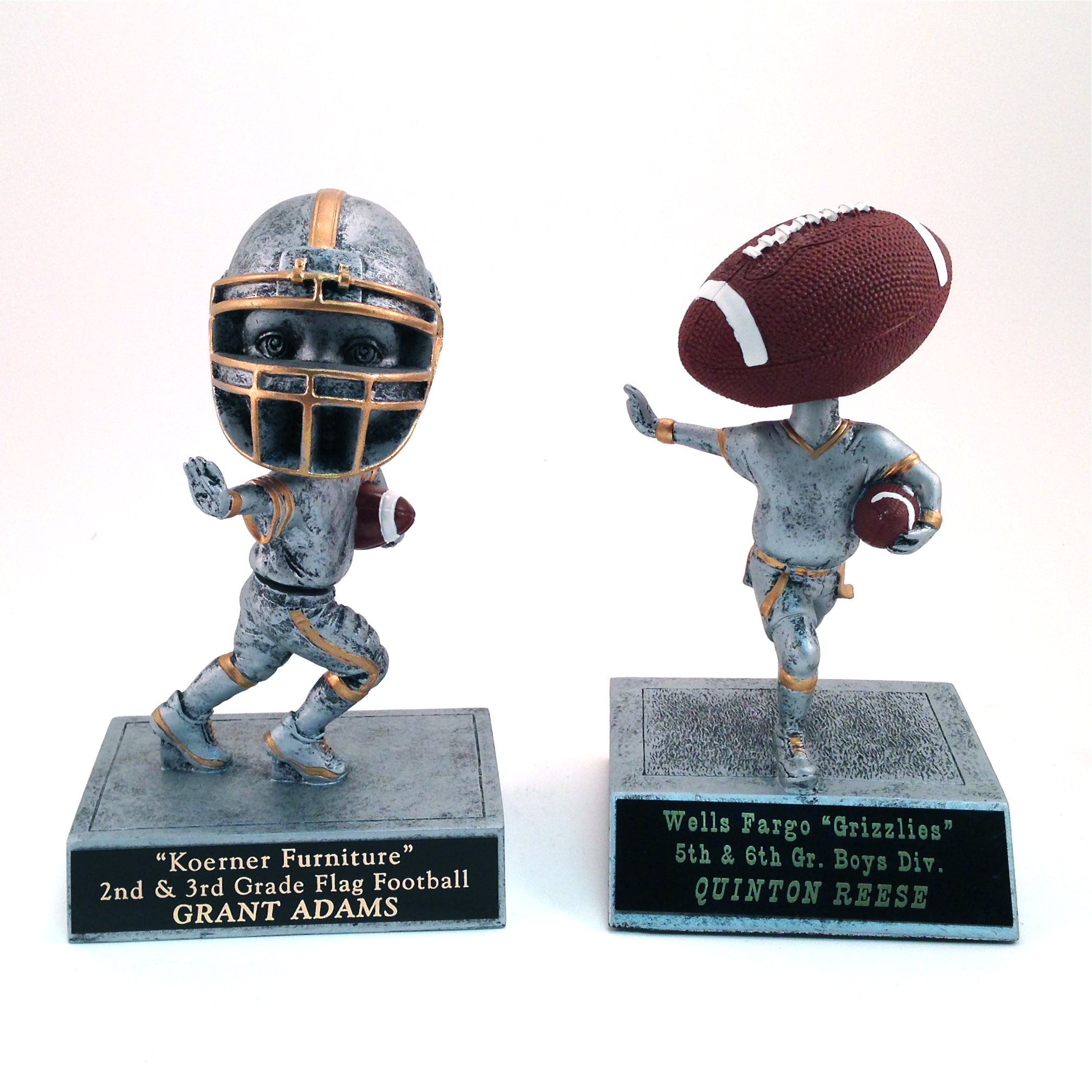 Football Bobbleheads - $18.02 each (Includes tax & engraving) Specify Jr. Tackle or Flag Football. [ITEM#:  16A ]