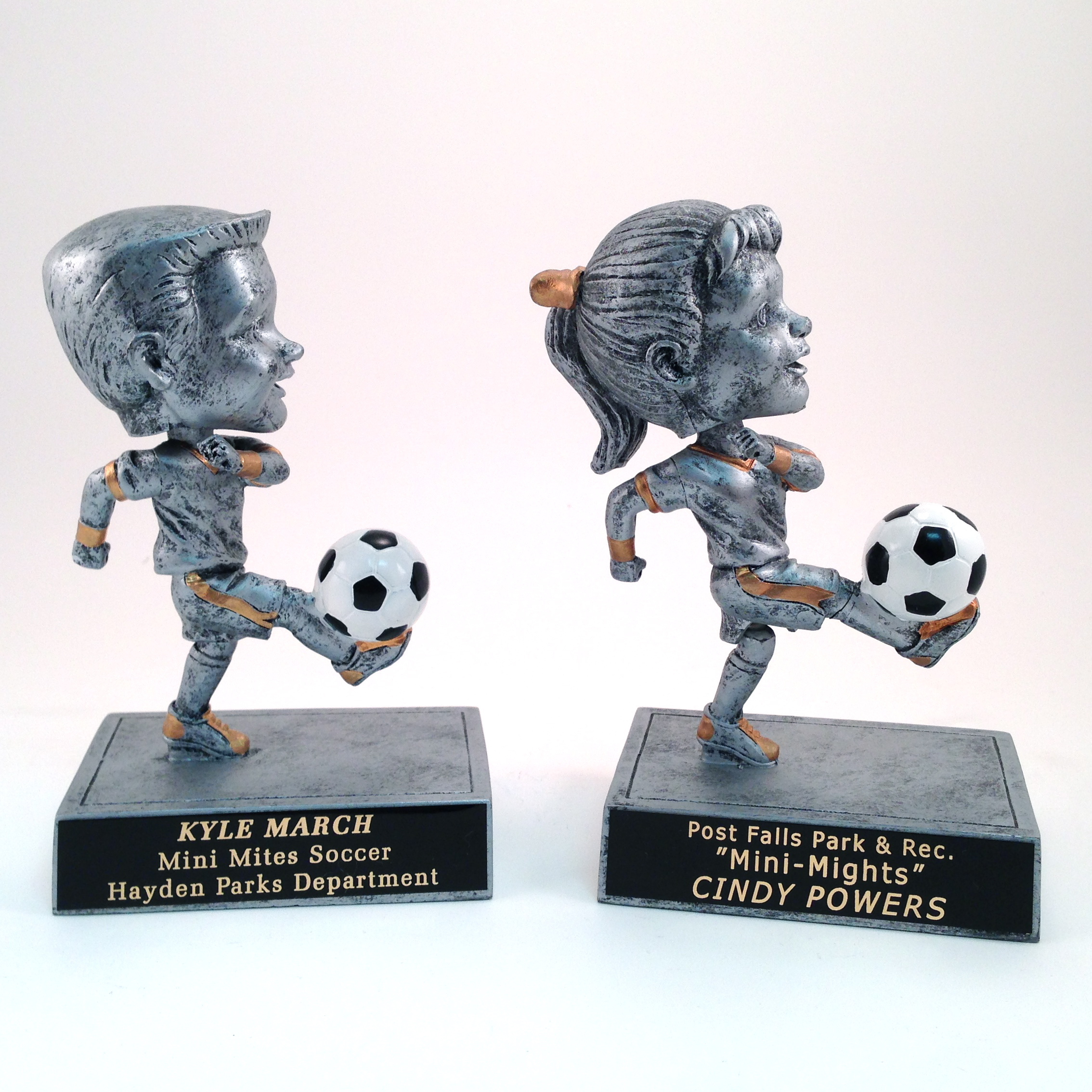 Soccer Bobbleheads - $18.02 each (Includes tax & engraving). Specify Male or Female figures. [ITEM#:  16B ]