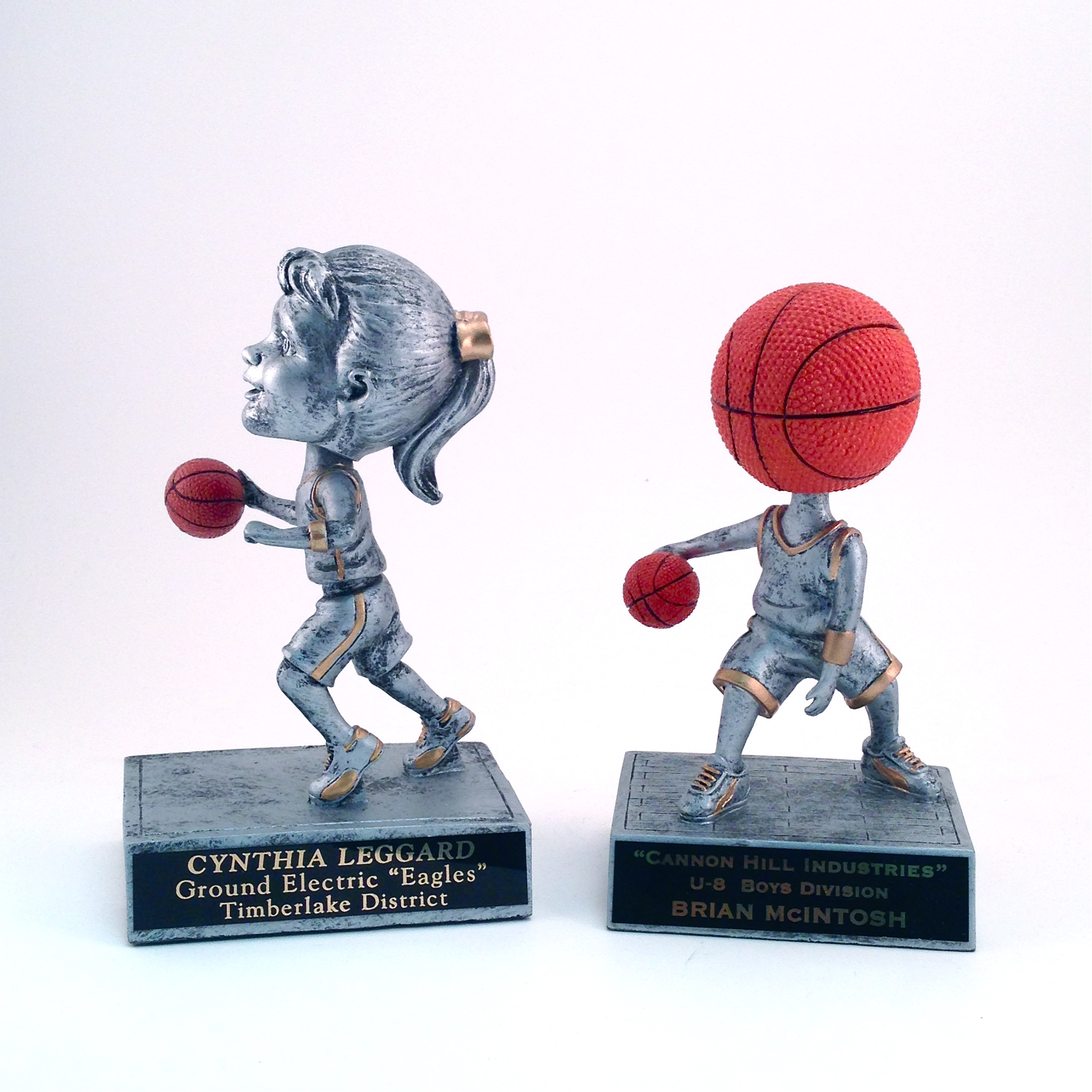 Basketball Bobbleheads -  $18.02 each  (Includes tax & engraving) Specify Male (not pictured), Female, or Basketball Bobblehead. [ITEM#:  16I ]