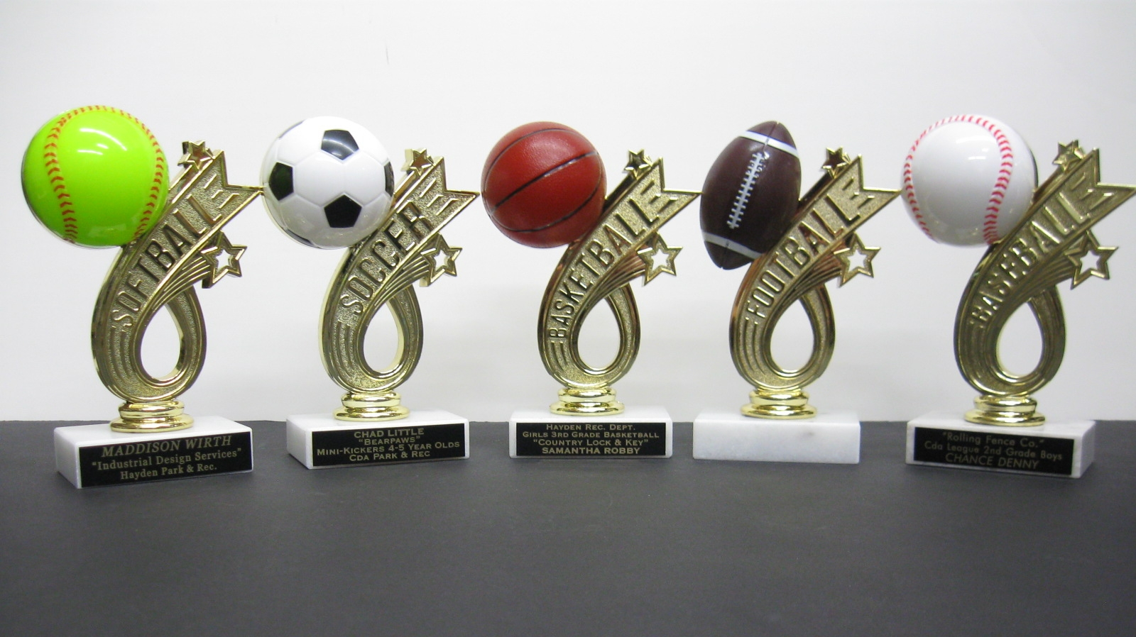 Baseball, Softball, Soccer, or Basketball figures on Marble Base - $7.42 each (Includes tax & engraving). [ITEM#:  16N ] Note: Engraving plates in pictures are included in price. See trophies below for ex.)