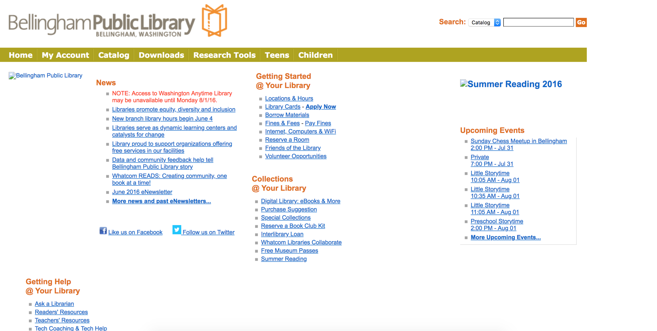 As you can see, the existing BPL site was merely a mess of links void of imagery and direction.