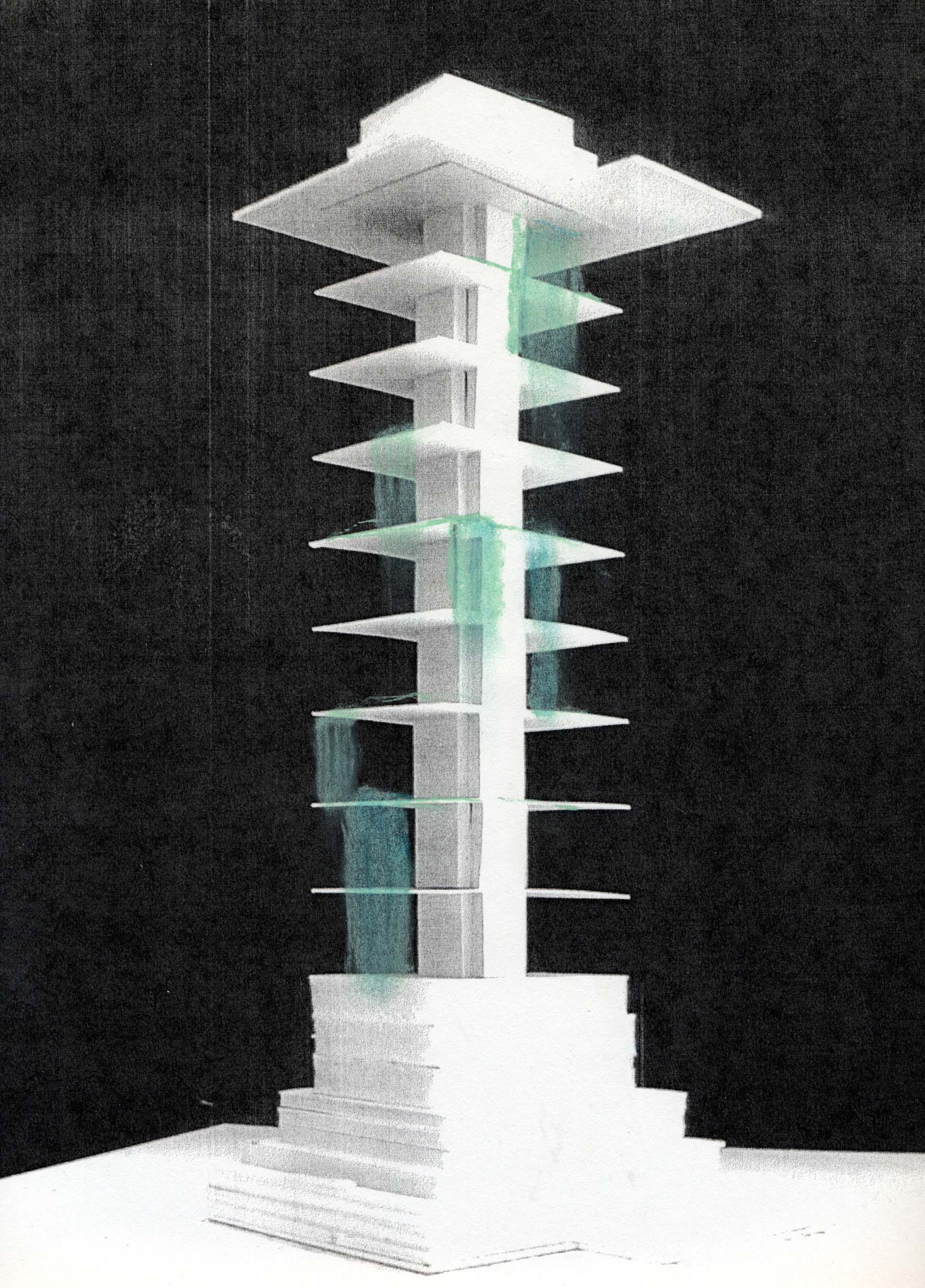 Monsoon water collection waterfalls, Concept for Residence Antilia, Mumbai 2004-