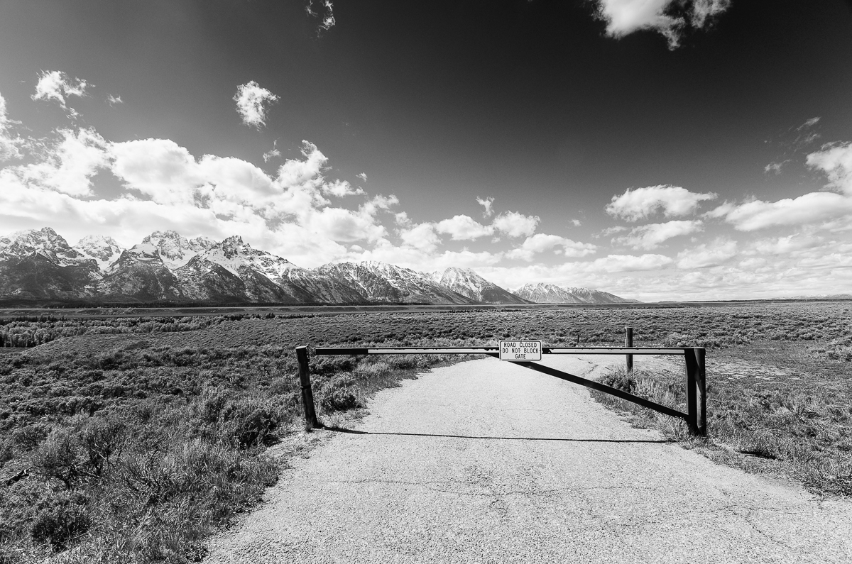 The road to Schwabacher Landing has been closed for the season.