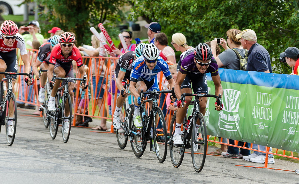 Greg Van Avermaet of Team BMC leads the chase pack into the finish.