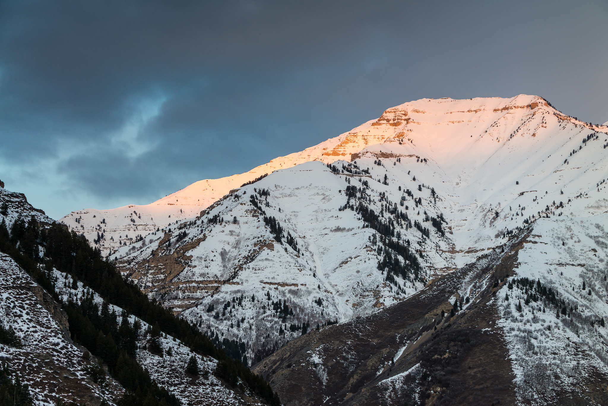 The slopes of Mt. Timpanogos at first light  ISO 200 f/8 1/40s at 82mm