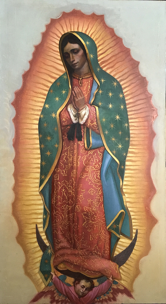 """Langley 2017, The Virgin of Guadalupe, Oil on Canvas with Gold Leaf, 60""""x36"""""""
