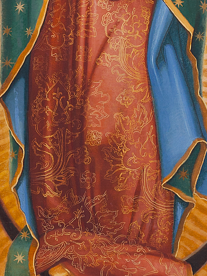 "Client: Fraternitas Sacerdotalis Sancti Petri:     Commission:  Altarpiece for Marian Altar at Our Lady of Guadalupe Seminary, Denton, Nebraska . Signum Magnum (detail) , 192""x108"" Langley oil on linen canvas. Theme: ""A Great Sign Appeared in the Heaven: a woman clothed with the sun, with the moon under her feet, and on her head a garland of twelve stars."""