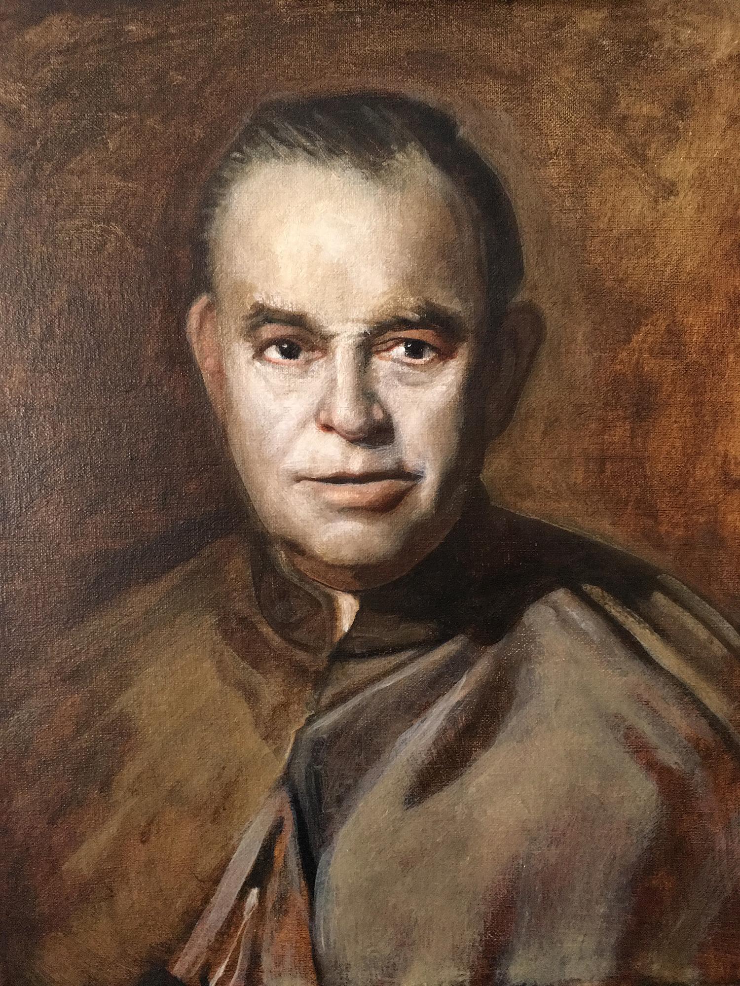 Client: Rev Gerry Schreck, Rector Cathedral of St John the Baptist, Savannah Georgia, Langley Portrait of Monsignor James T. McNamara,oil on canvas 2017