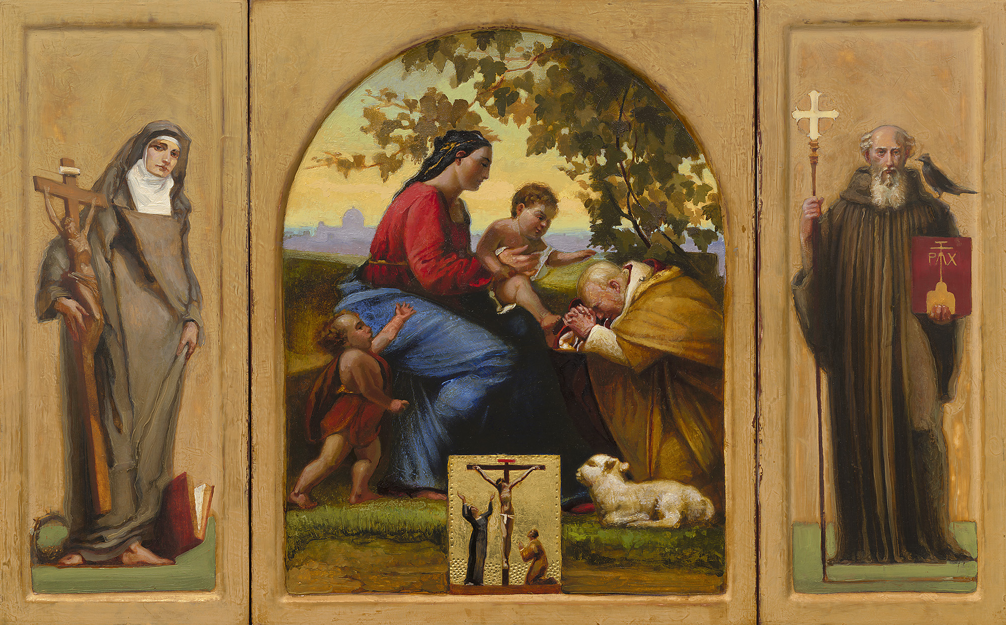 Client Templeton Smith Foundation, portable altarpiece for Rev Bede Kotlinski OSB.  Sacra Conversazione   with Madonna and Child, St John the Baptist, Saints  Teresa Benedicta of the Cross, John Paul, Benedict (crucifixion inset). Langley painting:Clay Bole with water gilding, egg tempera and oil on panel.