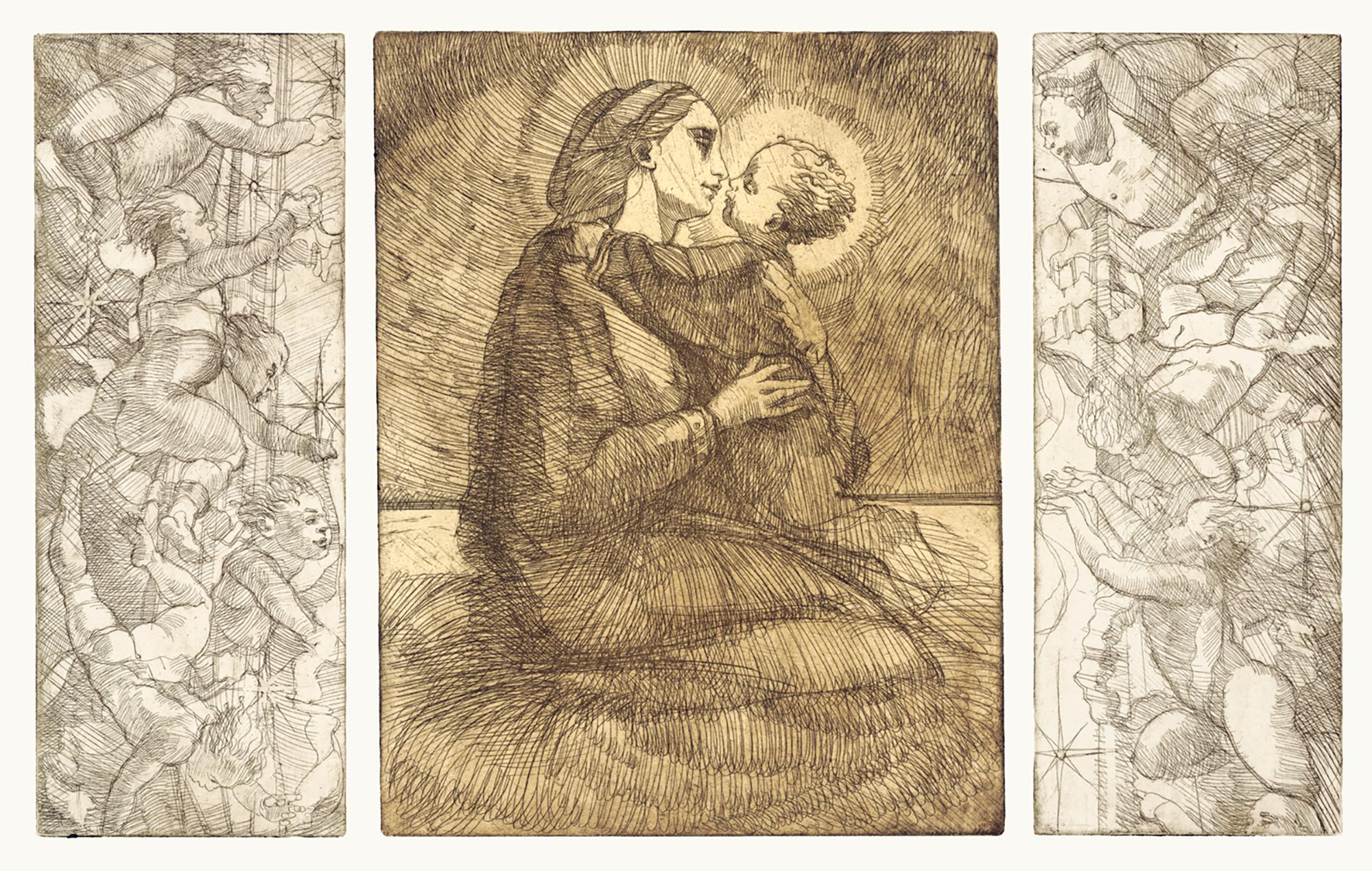 """Nuestra señora de los santos inocentes, 30""""x22"""", triptych - copper plate etching, artist proof 1/1, langley"""