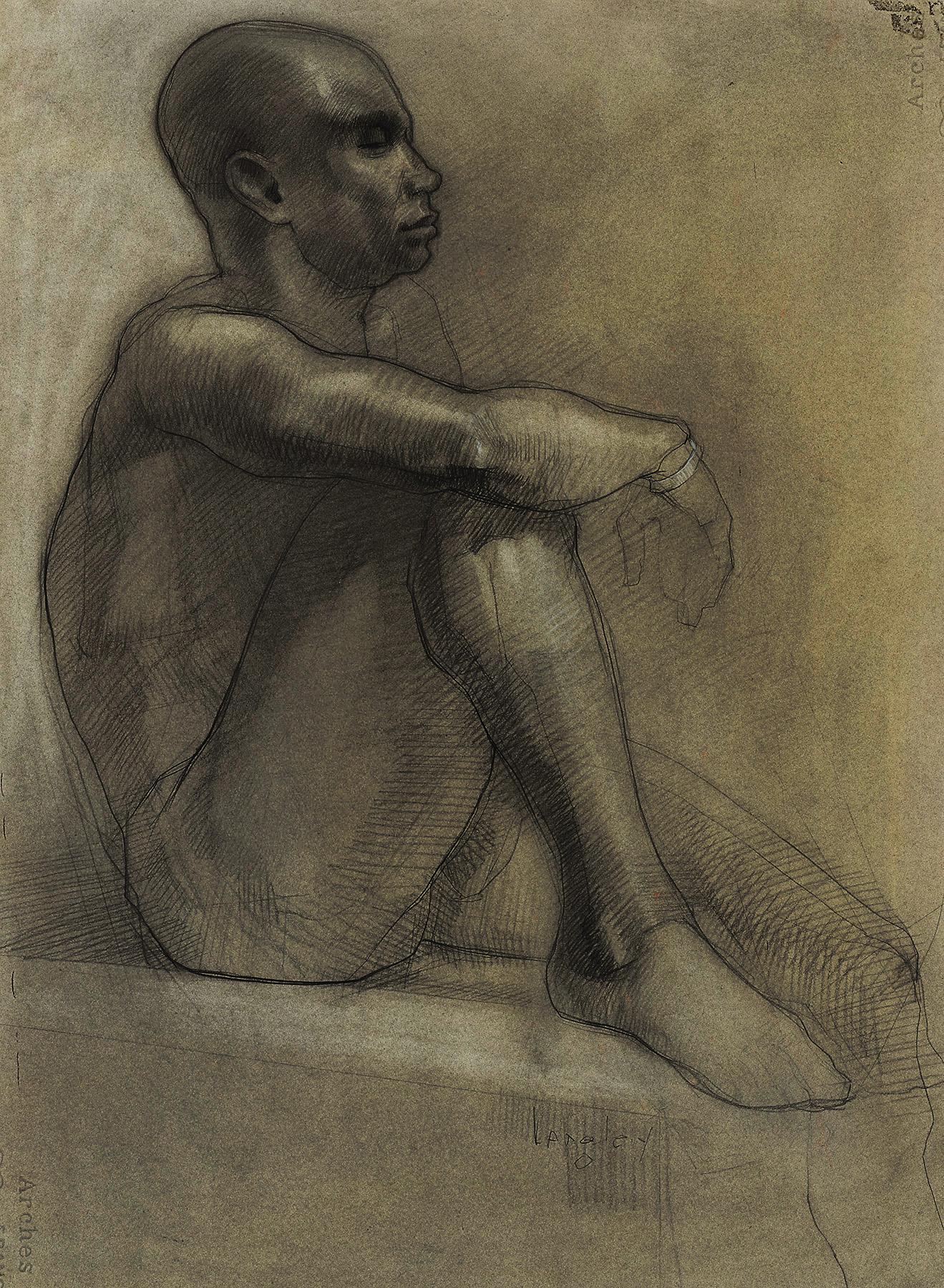 langley bald male nude seated profile.jpg