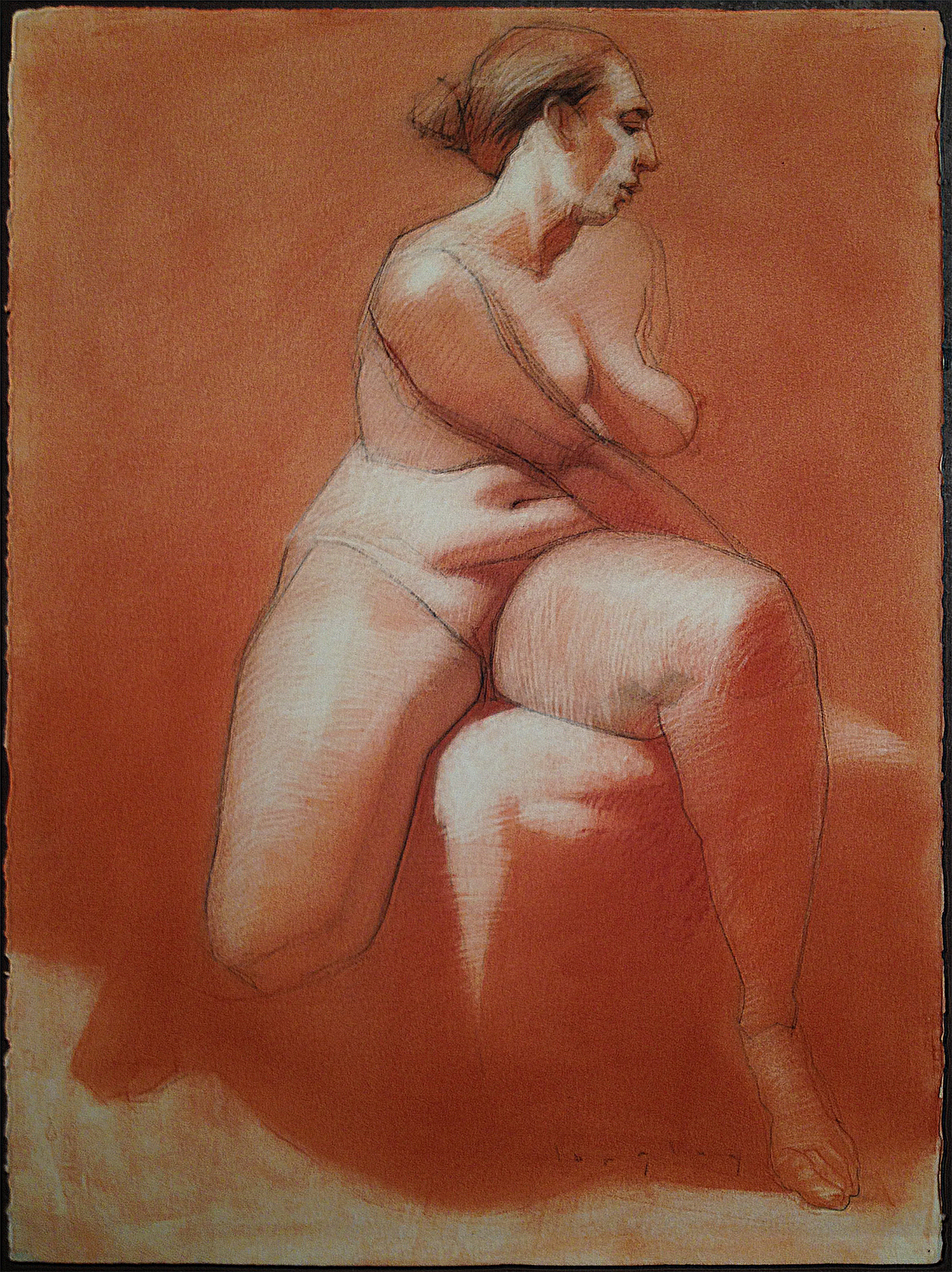 adriene seated red ground 30x22 conte langley.jpg